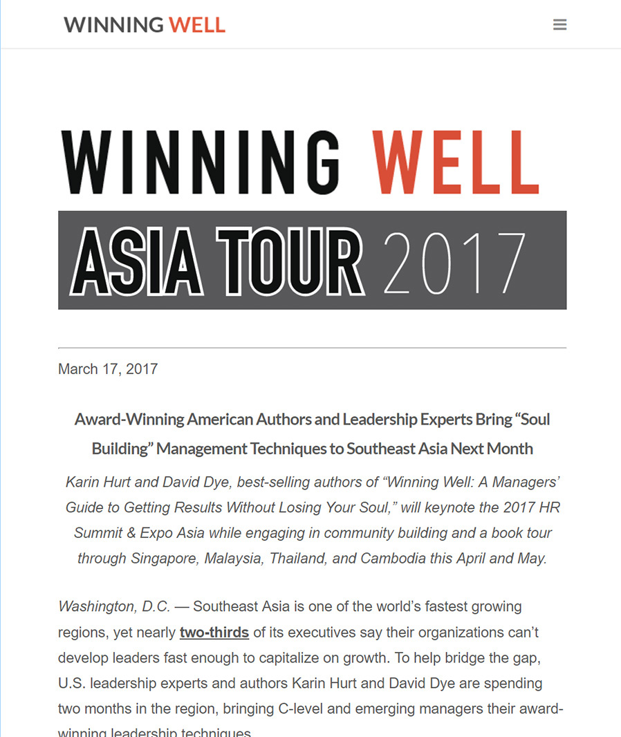 Press Release - Winning Well Asia Tour 2017