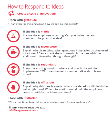 Innovation: How to respond to ideas